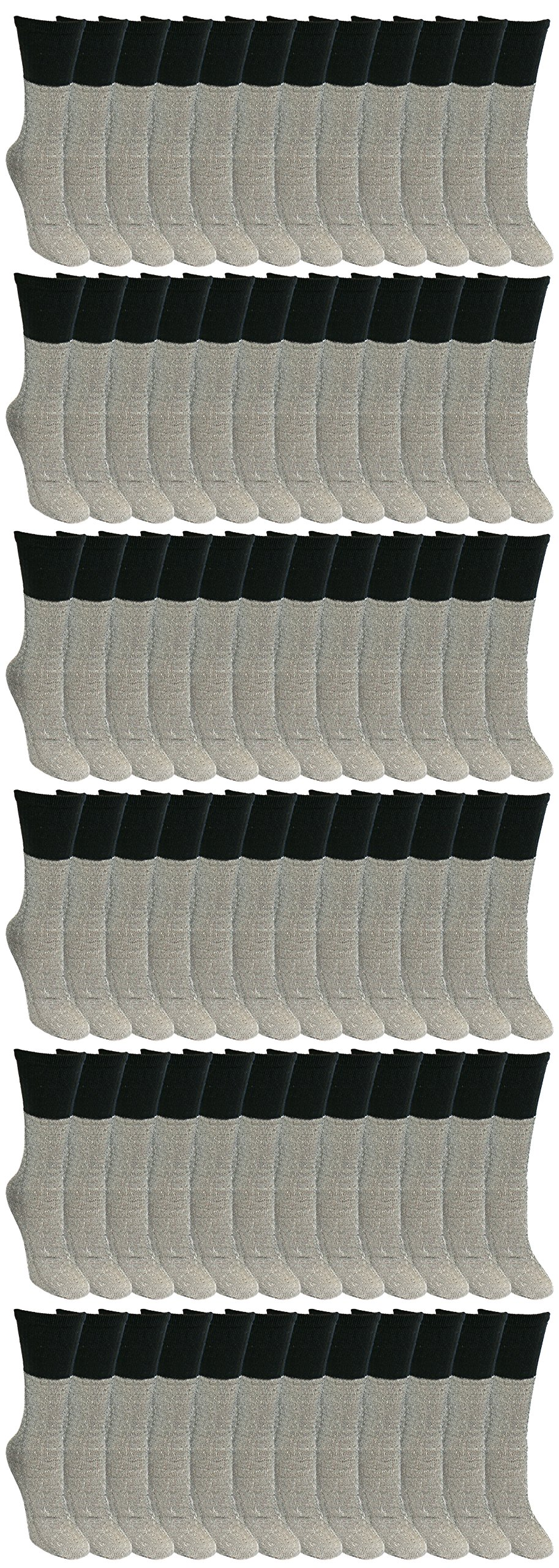 72 Pairs Thermal Tube Socks for Women, Wholesale Bulk Heat Retainer Cold Winter Ladies Boot Sock (Gray with Black Top)