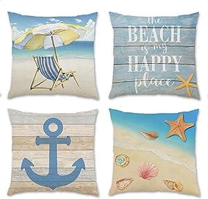 iClols Summer Pillow Covers, Set of 4 18 x 18 Inch Pillowcase for Sofa, Nautical Coastal Beach and Blue Anchor Starfish Shell Beach Chair Pillow Covers, Farmhouse Cushion Case for Home Decor