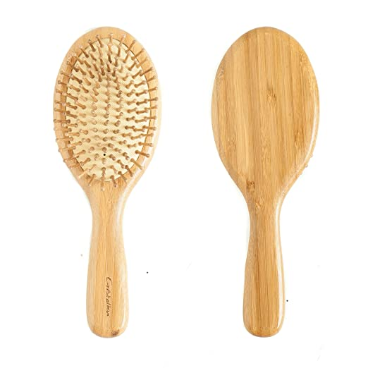 Cristalbox Best Natural Wooden Paddle Hair Brush for All Hair Types, Ball Tipped Bamboo Bristle, Flexible Cushion Base, for Scalp Massage, Detangling, Healthy and Shining Hair, Men and Women, 9 Inch