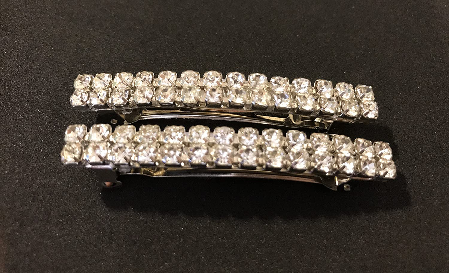 Crystal Rhinestone Hair Barrette 2pc Hair Clip 60mm Small 2inch