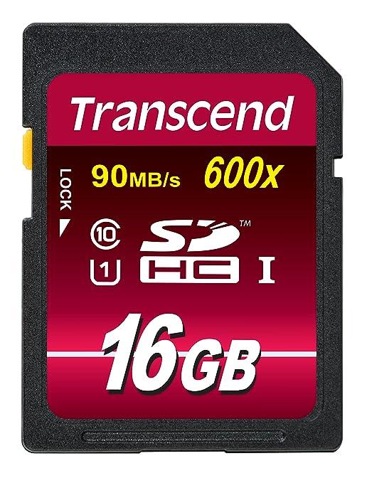960 opinioni per Transcend TS16GSDHC10U1E Scheda di Memoria SDHC da 16 GB, UHS-I 600x, Classe 10