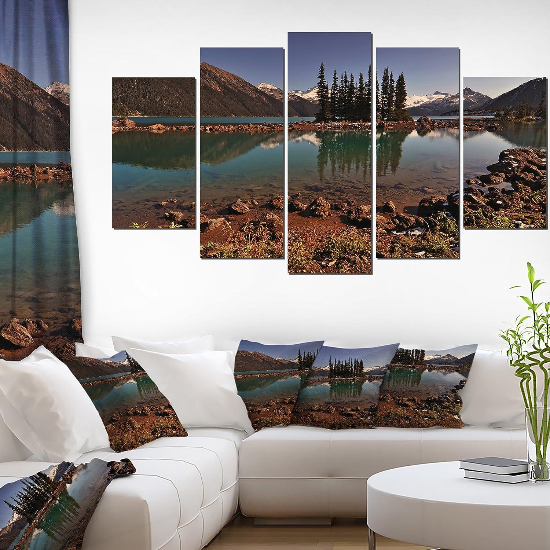 "CDM product Designart PT14412-373 Lake & Pine Trees in Evening X-Large Landscape Art Canvas, Brown, 60"" x 32"" big image"