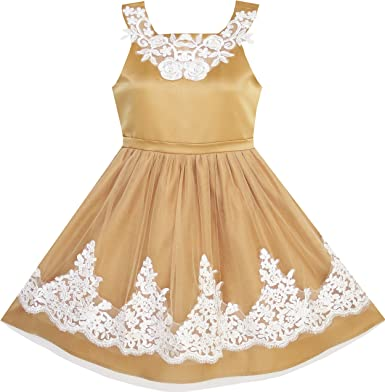 Kids Flower Girls Dress Formal Sequin Wedding Pageant Bridesmaid Size 7-14 Party