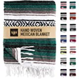 Handcrafted Mexican Blankets, Artisanal Handwoven Serape Blanket, Authentic Falsa Blanket, Great As Beach Blanket…