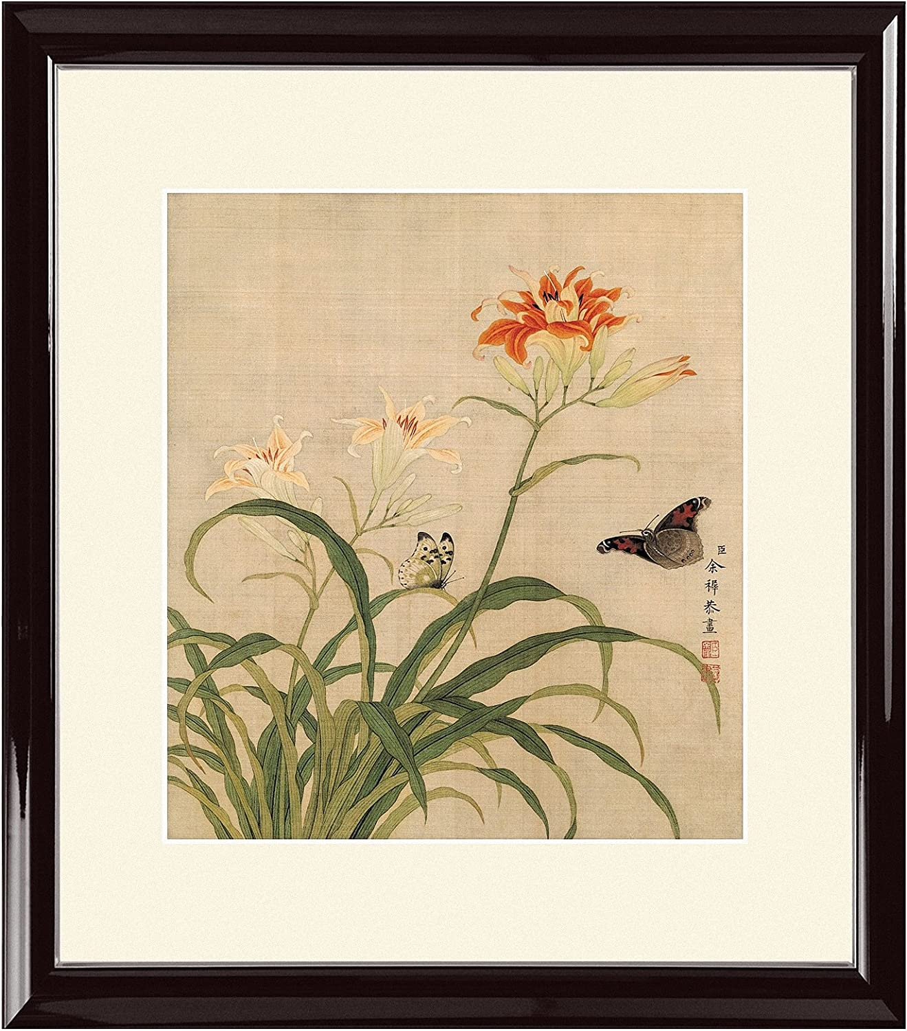INKWASH Modern Chinese Orange Daylily Yellow Flower Wall Art Flowers and Butterflies Painting for Home Decoration 19x20