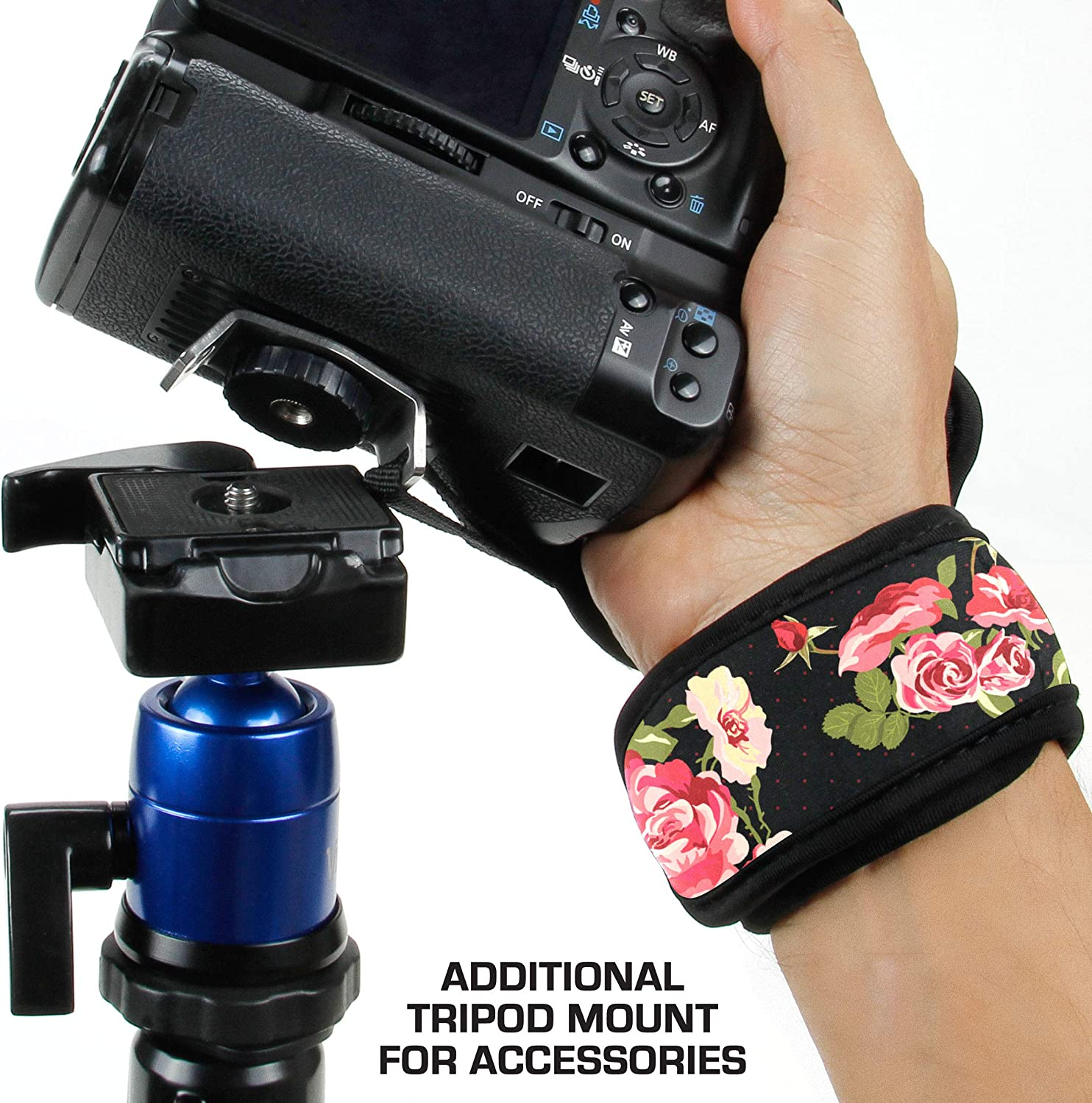 Point /& Shoot Cameras Mirrorless Compatible with Canon Nikon Sony and more DSLR Fujifilm USA GEAR Professional Camera Grip Hand Strap with Galaxy Neoprene Design and Metal Plate