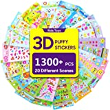 Stickers 1300 + and 20 Different Scenes , 3D Puffy Stickers, Year-Round Sticker Bulk Pack for Teachers School,Students, Toddlers,Scrapbooking, Girl Boy Birthday Present Gift, Including cars and more