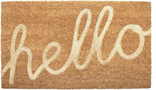 NIKKY HOME Coir Doormat Non Slip Front Door Mat with Word Hello – 18 X 30