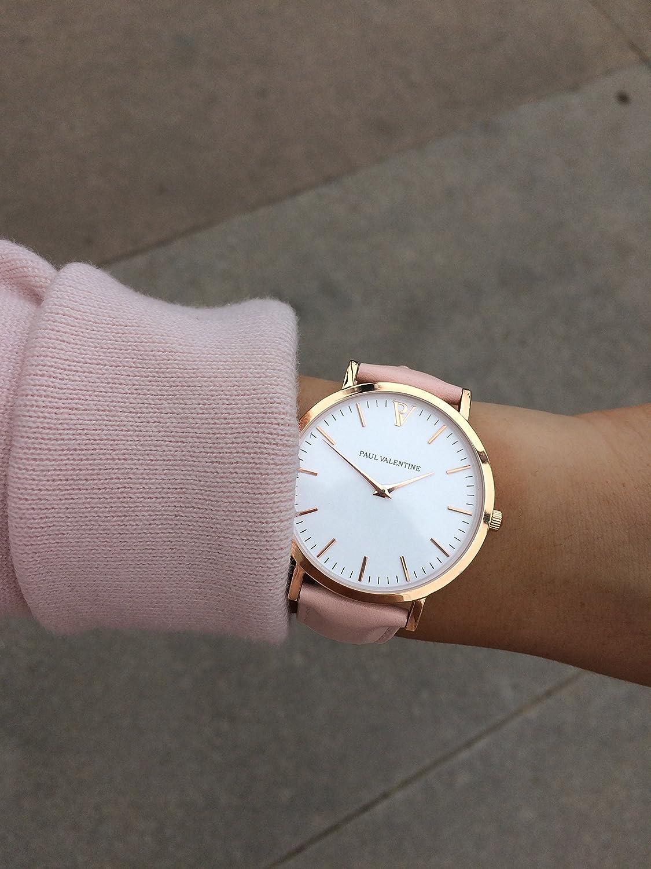 Paul Valentine Montres | Marina - Reloj de pulsera con correa de piel, color rosa: PAUL VALENTINE: Amazon.es: Relojes