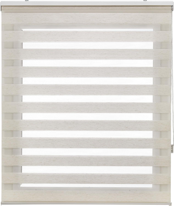 Blindecor LIRA - Estor enrollable de doble capa Noche y Día, Beige (Lino), 150 x 180 cm