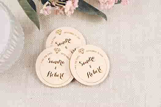 cow wooden magnet save the date by Oxee Wedding save the date cow magnets farm wedding