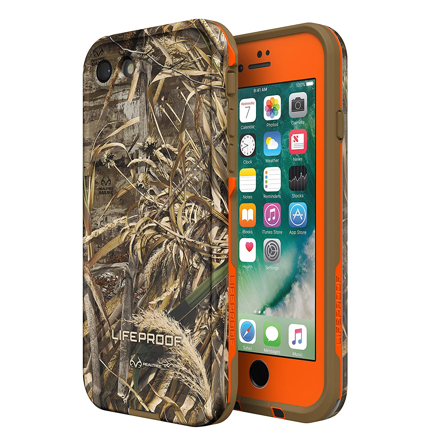 official photos f07b5 45a01 Lifeproof FRĒ SERIES Waterproof Case for iPhone 7 (ONLY) - Retail Packaging  - REALTREE MAX 5 ORANGE (BLAZE ORANGE/DARK FLAT EARTH/MAX5 HD DESIGN)