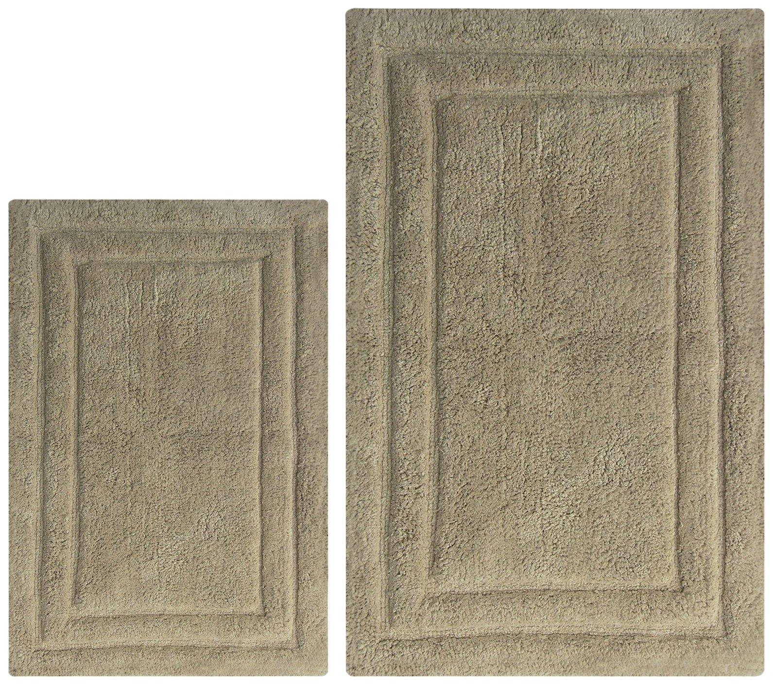 Chardin home - 100% Cotton two Piece Classicc Bath Rug Set, (21''x34'' & 17''x24'') with anti-skid spray latex back, Linen