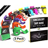 "Kinesiology Tape Pro (2 Pack or 1 Pack) Physix Gear Sport, 2"" x 16.5' Uncut, Best Waterproof Muscle Support Adhesive, Physio Therapeutic Aid, Includes 82pg Step by Step Taping E-Guide"