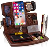Wood Phone Docking Station Natural Ash Hooks Key Holder Wallet Watch Stand Watch Organizer Men Gift Husband Wife…