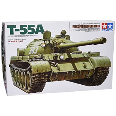 Tamiya 35257 1/35 Soviet Tank T-55A Plastic Model Kit: Toys & Games