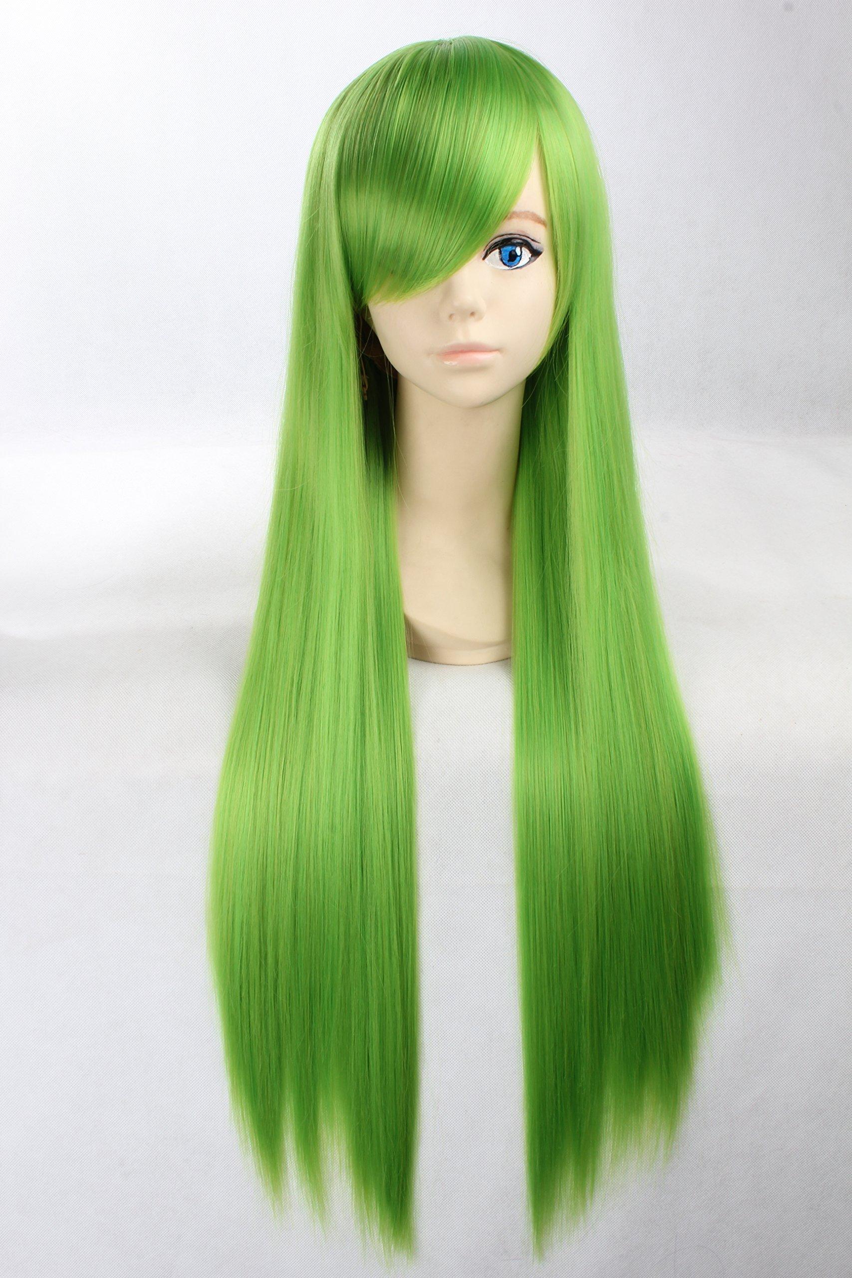 Coolsky Wigs Neon Genesis Evangelion Long Straight Green Hair Cosplay wig Costume