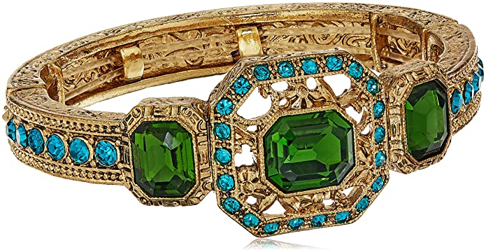 1930s Jewelry | Art Deco Style Jewelry 1928 Jewelry Gold-Tone Green and Blue Zircon Color Crystal Stretch Bracelet $35.04 AT vintagedancer.com