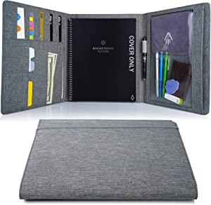 Folio Cover for Rocketbook Everlast, Fusion Letter Size, Waterproof Fabric, Multi Organizer with Pen Loop, Zipper Pocket, Business Card Holder, fits A5 Size Notebook, Gray, 11.4 x 9.4 inch