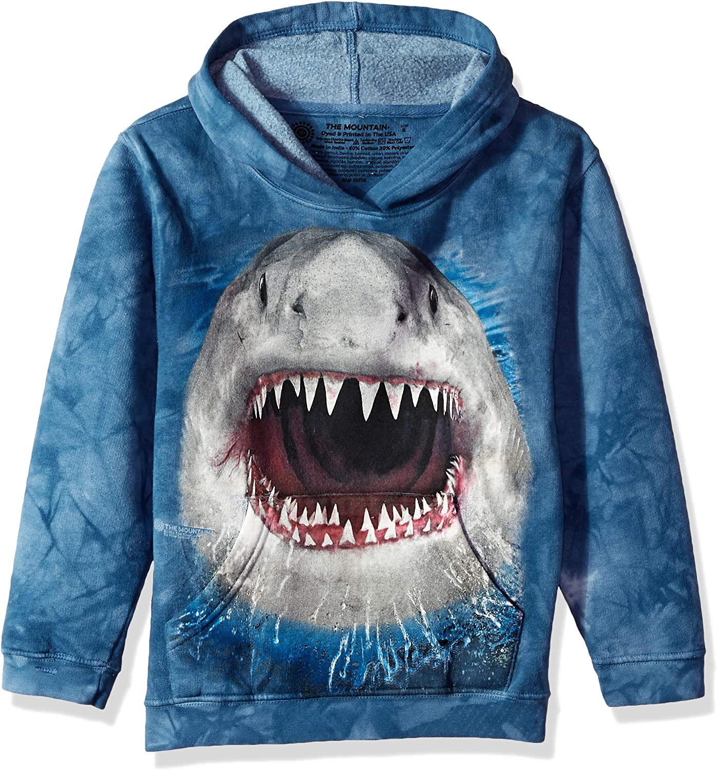 The Mountain Big Face Wicked Nasty Shark Hoodie – Long Sleeve, Child, Unisex - Blue