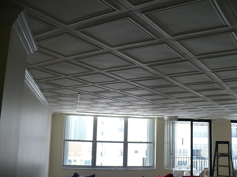 Amazon Styrofoam Glue Up Ceiling Tiles White 20x20 R24w Pack Of