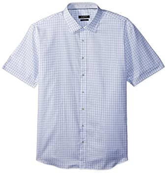 1a33209daf42 Bugatchi Men's Shaped White Square Print Point Collar Short Sleeve Shirt,  ...
