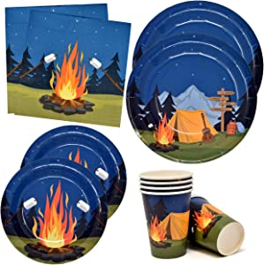 "Camping Adventure Party Supplies Tableware Set 24 9"" Paper Plates 24 7"" Plate 24 9 Oz Cup 50 Lunch Napkin for Camp Out Campfire Forest Nature Hiking Camper Themed Disposable Birthday Baby Shower Decor"