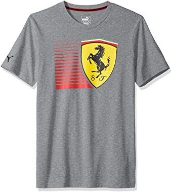 PUMA Men's Scuderia Ferrari Big Shield T-Shirt, F Medium Gray Heather, ...