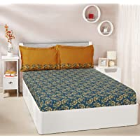 Amazon Brand - Solimo Ditsy Dale 144 TC 100% Cotton Bedsheet Pillow Covers