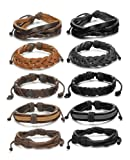Amazon Price History for:FIBO STEEL 10-12 Pcs Braided Leather Bracelets for Men Women Cuff Bracelet,Adjustable