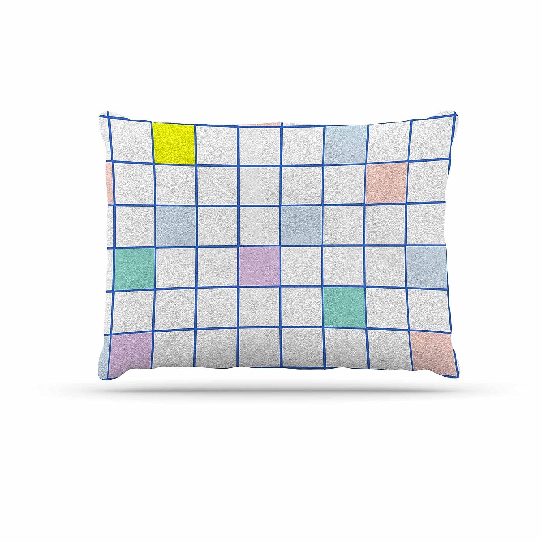 KESS InHouse Vasare NAR Pastel Windowpane Grid Multicolor White Dog Bed, 50  x 40