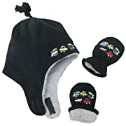 N'Ice Caps Boys Sherpa Lined Micro Fleece Embroidered Hat and Mitten Set (6-18 months, Infant - Black)
