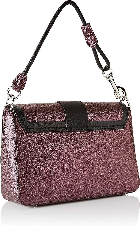 Trussardi Jeans Damen New With Love Shoulder Lg Ecol Schultertasche, 9x20x31 centimeters Rot Burgundy Black