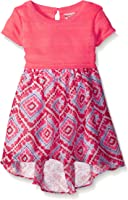 Youngland Girls' Yarn Knit Pop-Over Bodice Dress With Printed Chiffon High-Low Skirt