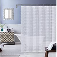Dainty Home Cut Modern Flower 3D Linen-Look Fabric Shower Curtain, 70 inch x 72 inch, Textured Solid White
