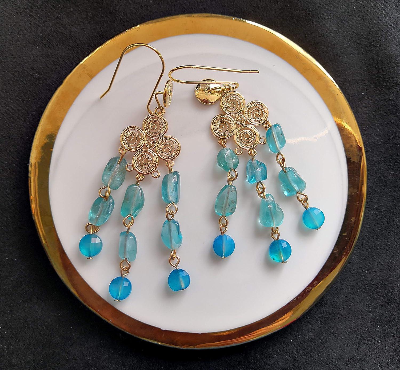 Amazing Atlantis Serie de civilizaciones antiguas de 2020 Pendiente de gota de borla azul de apatita azul y ágata azul hecho a mano en ganchos chapados en oro