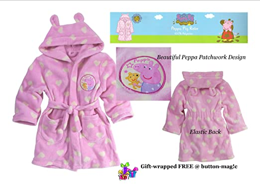 Peppa Pig Pink Robe * For Girls 3-4 Years / Dressing Gown with ...