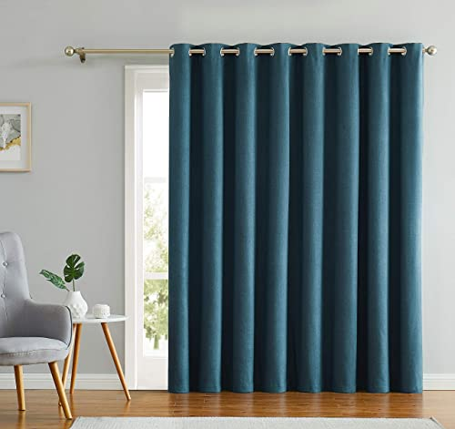 Romantex 100 Blackout Drapes for Sliding Glass Door Faux Linen Grommets Patio Door Curtains Extra Long and Wide for Bedroom,Peacock Blue, 100 W x 96 L,1Panel