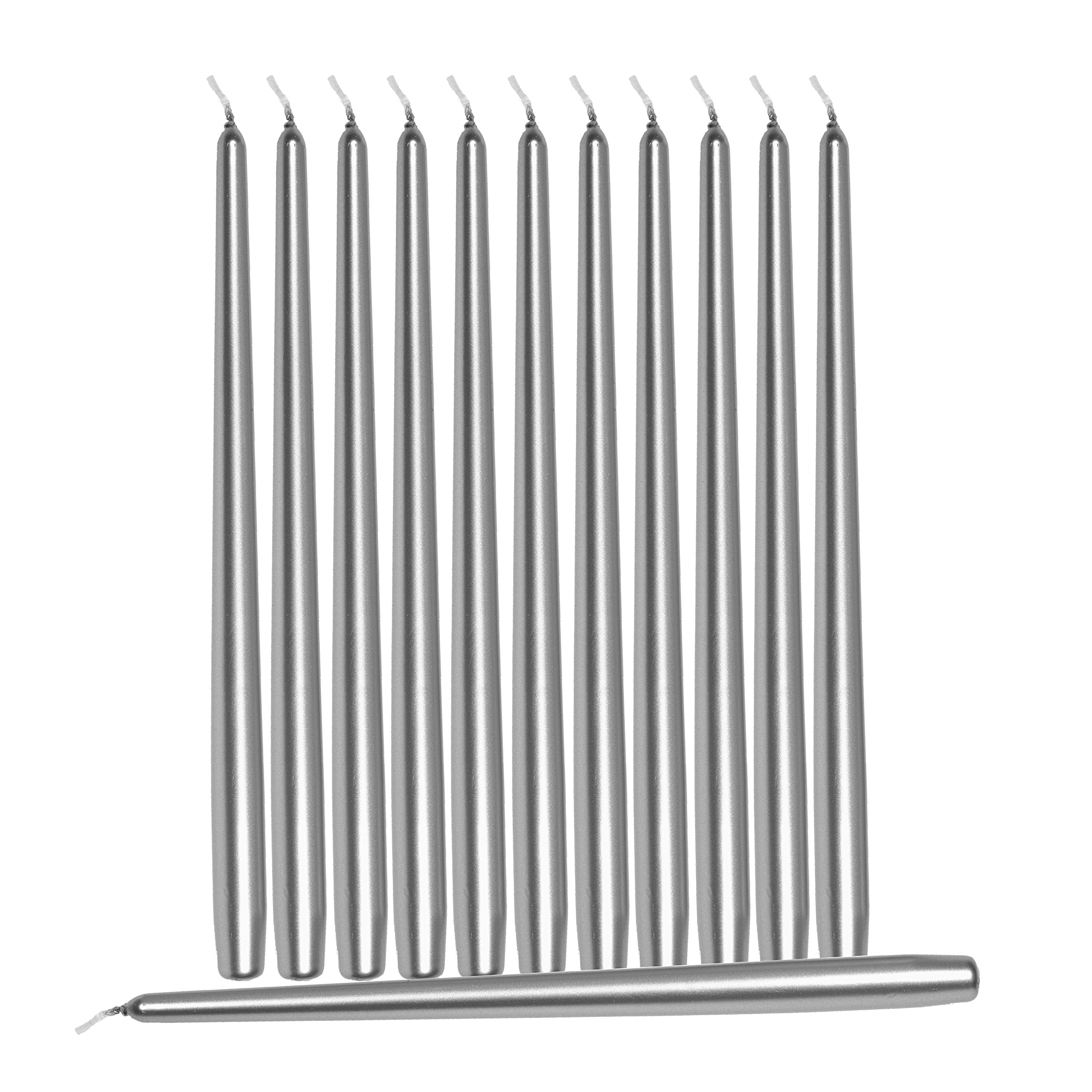 Hyoola 12 Pack Tall Metallic Taper Candles - 10 Inch Silver Metallic, Dripless, Unscented Dinner Candle - Paraffin Wax with Cotton Wicks by Hyoola