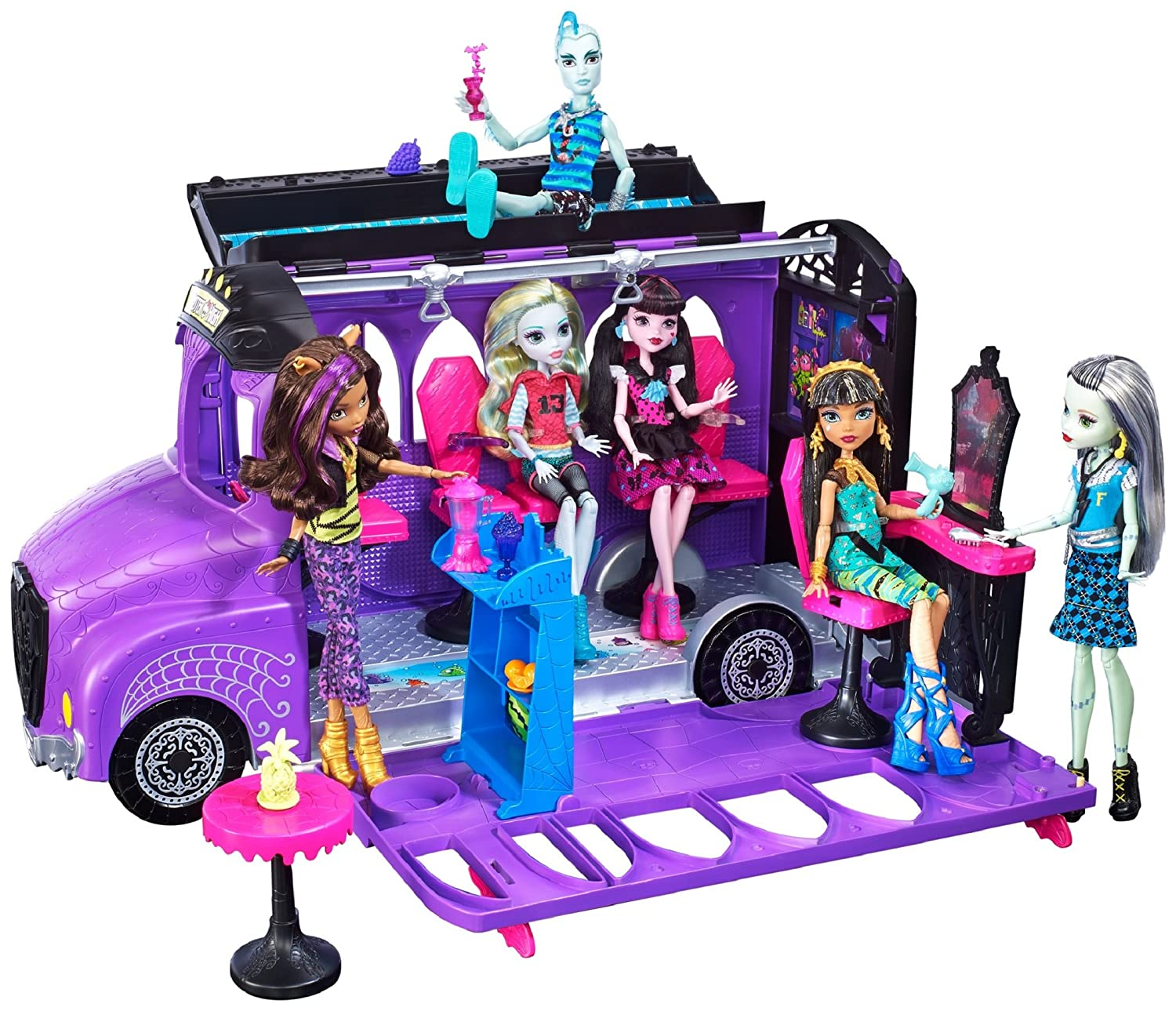 Monster High Mattel FCV63 - Deluxe Bus and Mobile Salon Toy Playset - Pedicure Station Pool - Fashion Doll