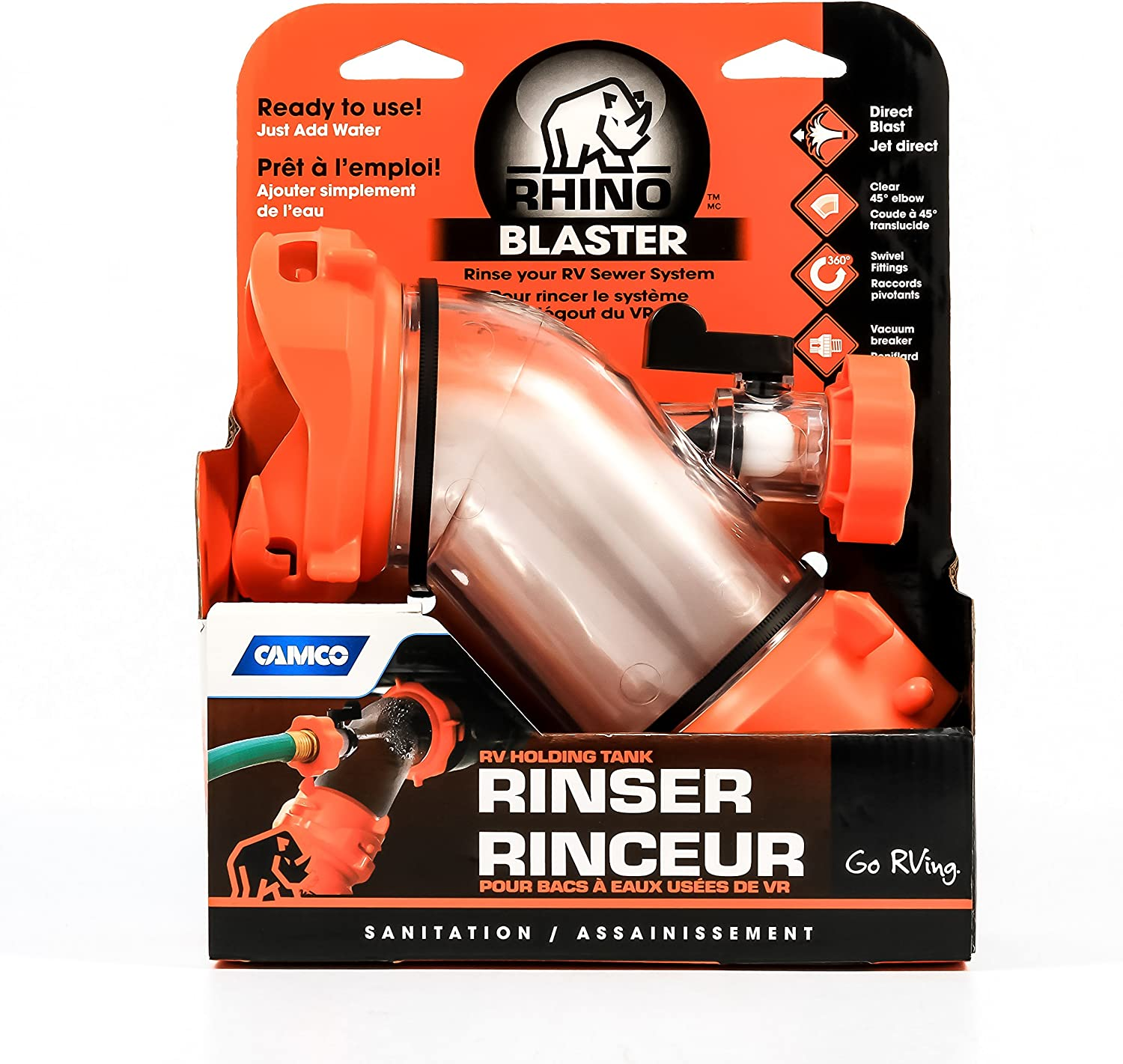 Amazon Com Camco Rhino Blaster Sewer Tank Rinser Securely Attaches To Your Rv Sewer Outlet To Jet Rinse Out Residue Black Flow Preventer Prevents Hose Contamination 39080 Automotive
