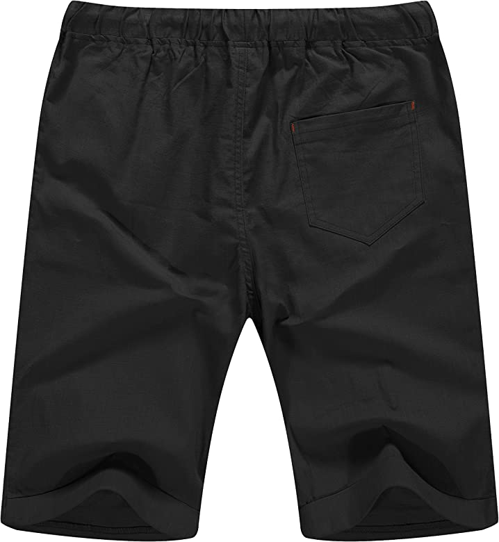 Men Fashion Summer Beach Shorts Linen Casual Classic Fit Short