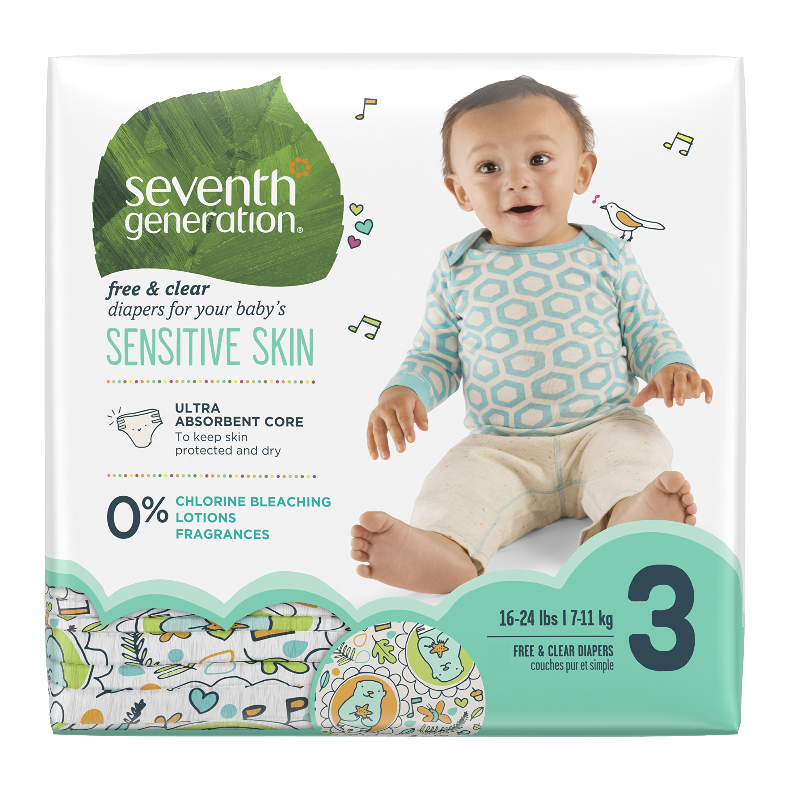Seventh Generation Baby Diapers, Free and Clear for Sensitive Skin, with Animal  Prints,