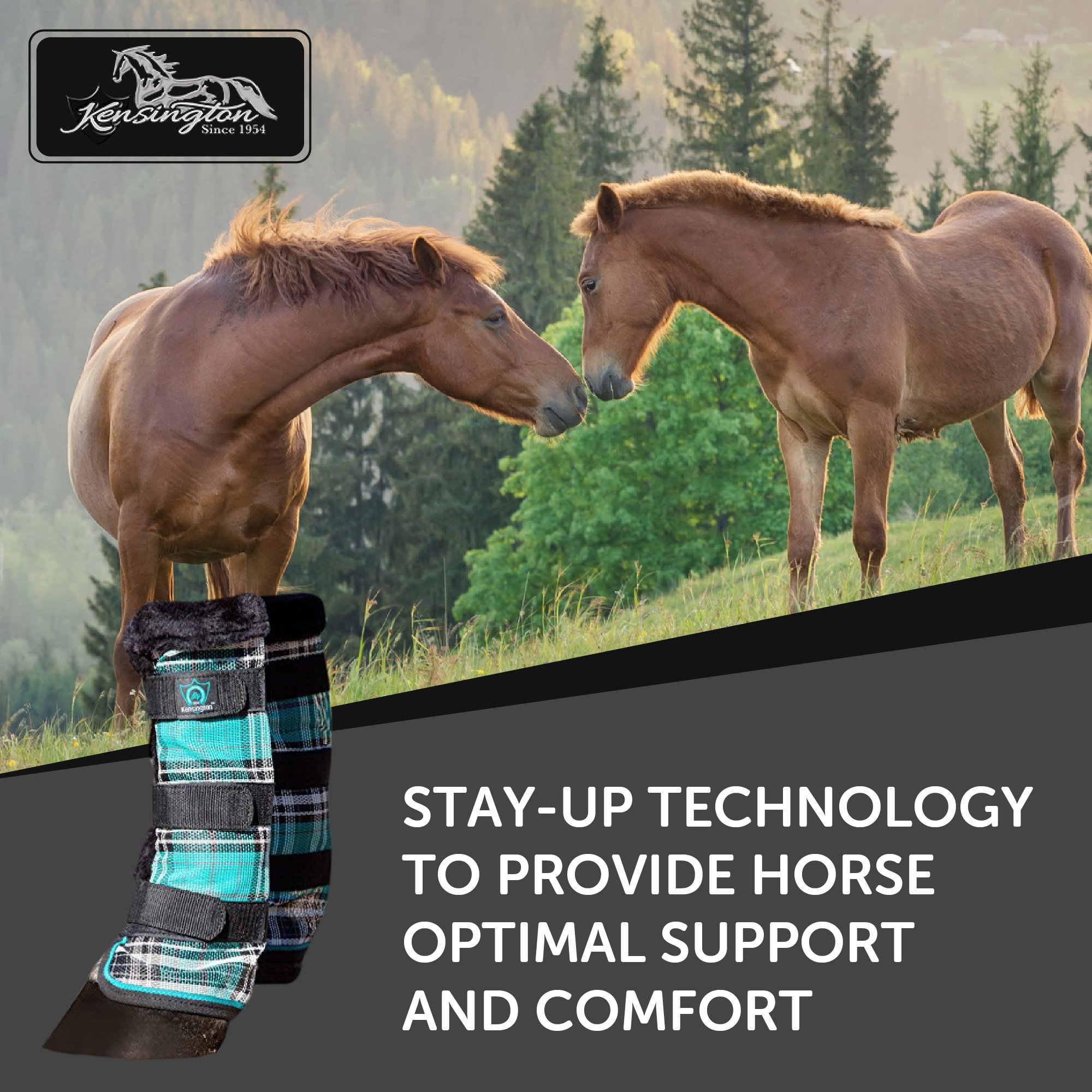 Kensington Horse Fly Boots with Comfortable Fleece Trim — Stay-Up Technology with Velcro Straps — Protection from Insect Bites and UV Rays — Sold in Pairs of 2 (Black Ice Plaid) by kensington products (Image #2)