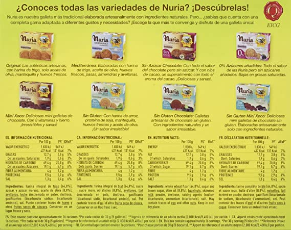 Birba Nuria Galletas Integrales, Ricas en Fibra - 470 gr: Amazon ...