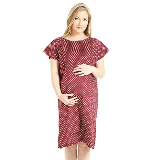 Amazon.com: Comfortable Maternity Hospital Gown for Labor, Delivery ...