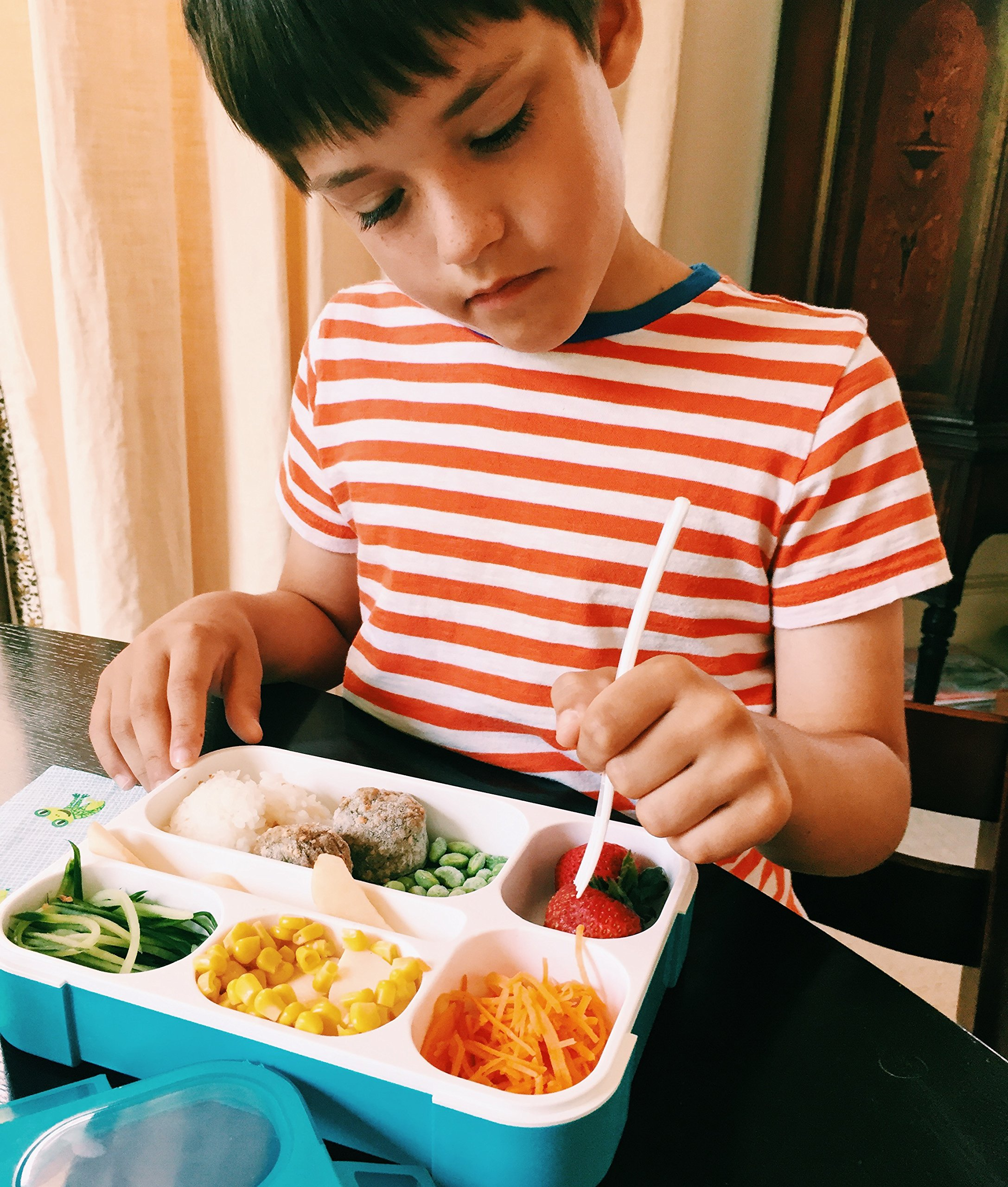 Lunch Box + Snack Container Set. Bento Lunchbox with 6 Compartments + Snackbox w/ 3. Durable School Bentobox + Meal Portion Containers for Kids, Adults. Boxes are Leakproof. BPA-Free Dishwasher & Micr