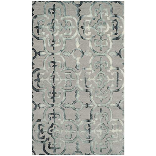 Safavieh Dip Dye Collection DDY711B Handmade Moroccan Geometric Watercolor Grey and Charcoal Wool Area Rug 3 x 5