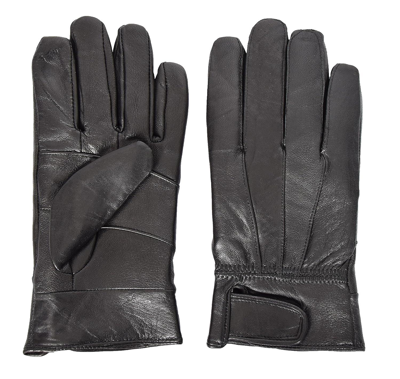 Mens 100/% Real Leather Fleece Lined Winter Warm Gloves HLS9 Black