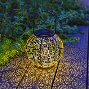 Solar Lanterns Outdoor Hanging Lights Decorative, Solar Outdoor Decorations for Patio Garden Yard Porch and Tabletop. (7.5 inch, 1 Pack)